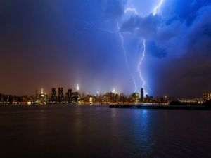 Electrical storm over the city of New York