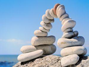 Stones forming a bridge