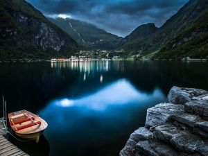 Village of Geiranger and its fjord, in western Norway