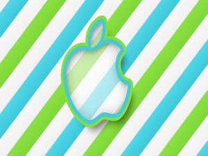 Apple logo, in blue and green colors