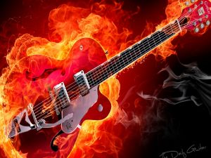 An electric guitar on fire