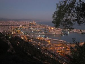 Night view, from Montjuic, of Barcelona Port