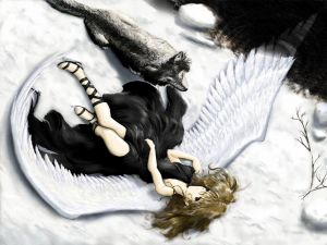 Fallen angel with a wolf
