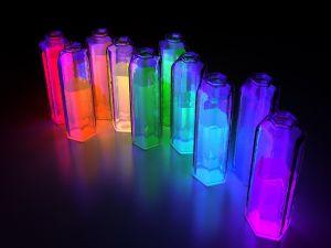 Jars with liquids fluorescents