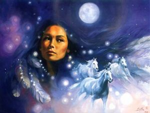 American Indian dreaming with horses