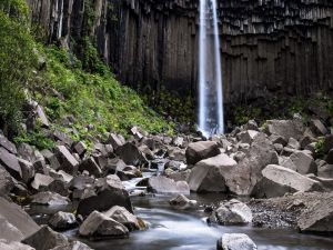 Svartifoss (Black Fall), in Skaftafell National Park, Iceland