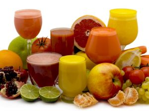Variety of fruits and juices