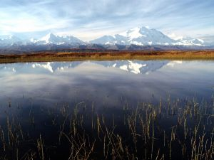 Snowy mountains reflected in a lake