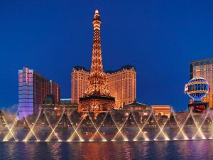 The Eiffel Tower seen from the Bellagio Hotel-Casino, Las Vegas, Nevada (USA)