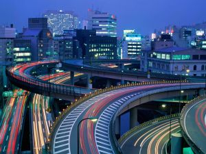 Night traffic in Tokyo, Japan