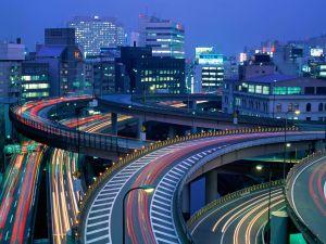 Night traffic in Tokyo, Japan