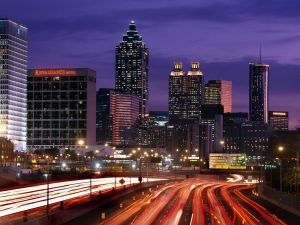 Traffic at night in Atlanta, Georgia, United States