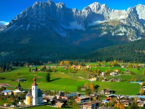 Green fields and mountains in Tyrol, Austria