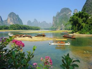 Barges on the Chinese town of Yangshuo