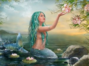Mermaid contemplating the beauty of a flower