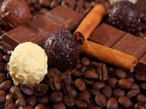 Chocolate, cinnamon stick and coffee