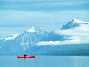 Canoeing at Glacier National Park, Montana, USA