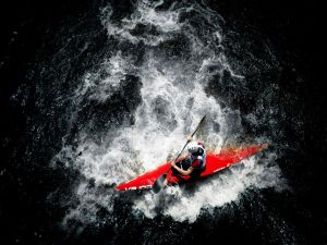 Aerial view of a professional canoeist