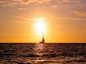 Sailboat on a beautiful sunrise