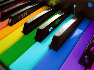 Piano with the keys in colors