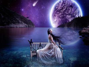 Fairy under a purple sky