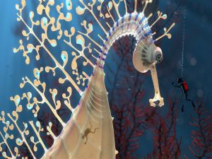 Giant seahorse alongside a diver