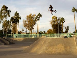 Tom Dugan doing BMX jumps