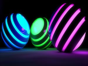Spheres with colorful light