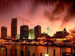 Miami Bay at dusk, Florida