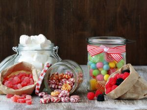 Candies, marshmallows and wine gums