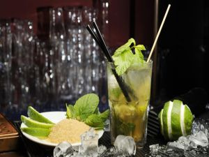 A mojito, the popular Cuban cocktail