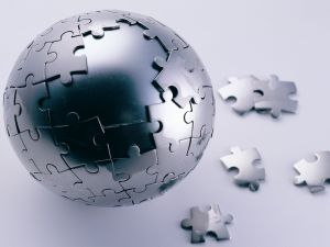 Puzzle of a world globe