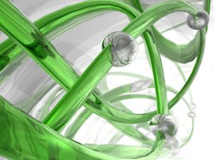 Abstract 3D design in white and green colors