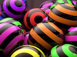 Balls with colored circles