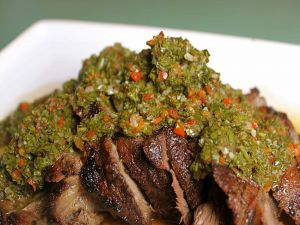Meat with chimichurri