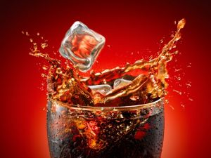 Drink of cola with ice