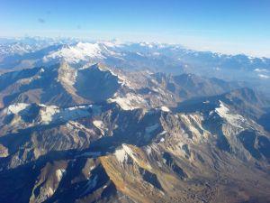 The Andes mountain range to bird's eye view