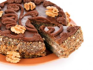 Cake with chocolate and nuts