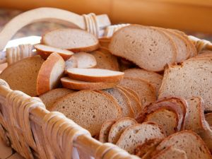 Basket with bread in slices