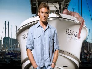 Dexter Morgan next to her boat