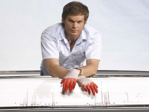 Dexter with bloody gloves