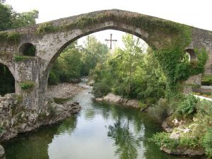 Roman bridge in Cangas de Onis, Asturias, Spain
