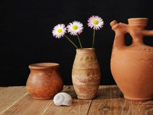 Three daisies in a ceramic vase