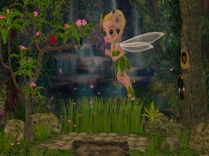 The flowers fairy in an enchanted forest