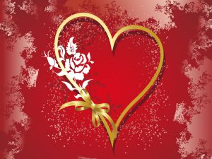 Heart with a golden ribbon