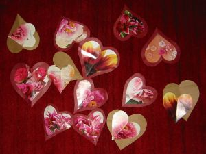 Hearts with flowers