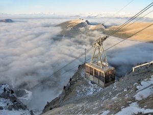 Cable car on the Mount Seceda, in the Dolomites (Italy)