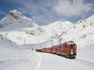 Train at line Bernina Express, Switzerland