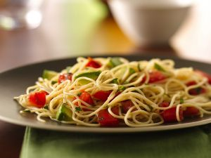 Plate of spaghetti with tomato and avocado