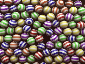 Striped balls of various colors